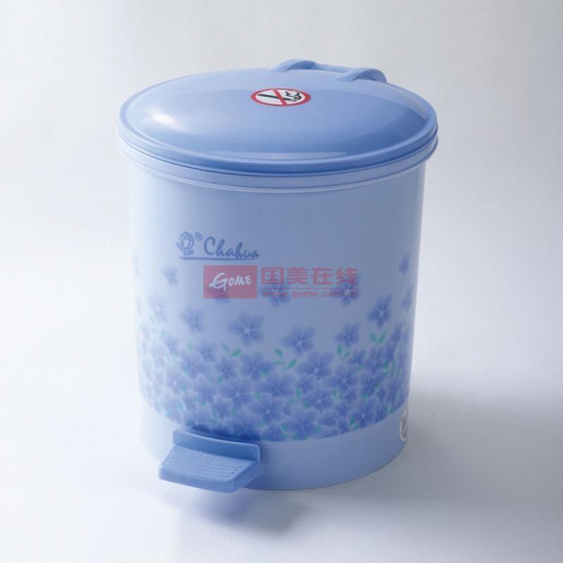 茶花24cm印花脚踏卫生桶1502-a 垃圾桶 pp材质图片,图