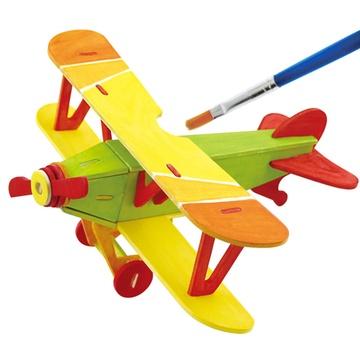 若态科技木质立体拼图儿童玩具可涂鸦上色动物飞机3d精品拼插(信天翁