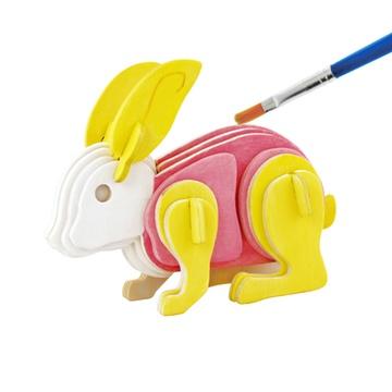 若态科技木质立体拼图儿童玩具可涂鸦上色动物飞机3d